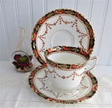 Imari Sevres Teacup Trio Victorian Era Bone China Downton Abbey 1880-1890s