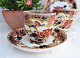 Pair George Jones Crescent Antique Imari Cup And Saucer Demitasse Cups 1890s