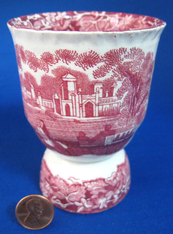 Antique Mason's Vista Double Egg Cup Pink Transferware 1890s Ironstone