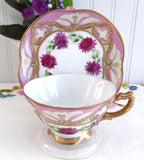 Gorgeous Nippon Japonisme Teacup Hand Painted Pink Gold Beading Moriage 1880s