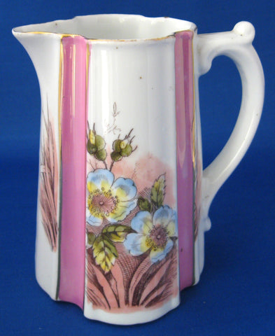 German Pink Luster Milk Jug Creamer Pink Panels Floral Scarborough 1890s