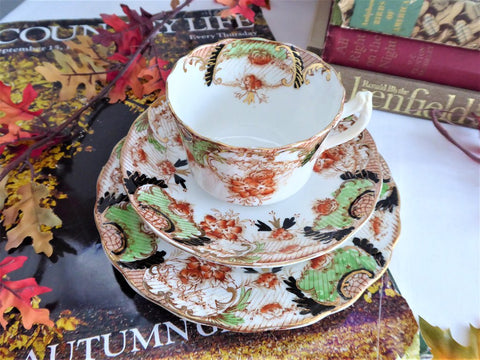Teacup Trio Imari Edwardian Polychrome Transferware Ironstone Downton Abbey 1890-1905
