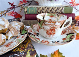 Edwardian Imari Teacup Trio Transferware Ironstone Downton Abbey 1890-1905