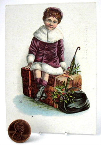 Victorian Trade Card Vermifuge Worm Cure Girl On Suitcase 1890s Advertising