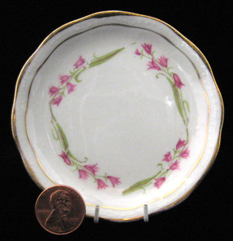 Butter Pat Pink Harebell Antique English Gold Trim Dish 1880s Victorian