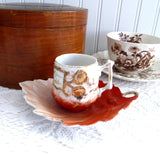 Victorian Cup And Saucer Acorn Cup Leaf Saucer 1890s Demi A Present Gold Orange
