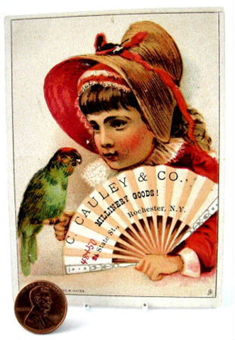 Victorian Trade Card Girl With Parrot Fan Cauley Millinery Goods 1890s Advertising NY