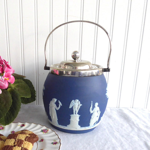 Biscuit Barrel Wedgwood England Dark Blue Jasper Dip Classical Figures 1890s