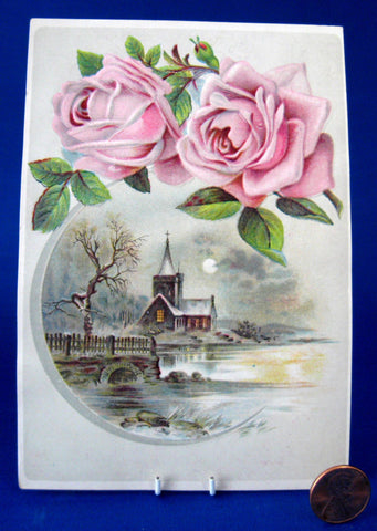 Church By Lake Roses Album Card Victorian Embossed Ephemera 1880s