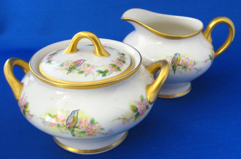 Birds Antique Cream And Sugar Hand Painted Heavy Gold 1890s