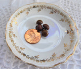 Dark Brown Shoe Buttons 4 Glove Buttons Metal Shank 1800s Buttons Victorian
