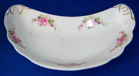 English Ironstone Bone Dish Crescent Roses Antique 1890-1910 Edwardian Victorian