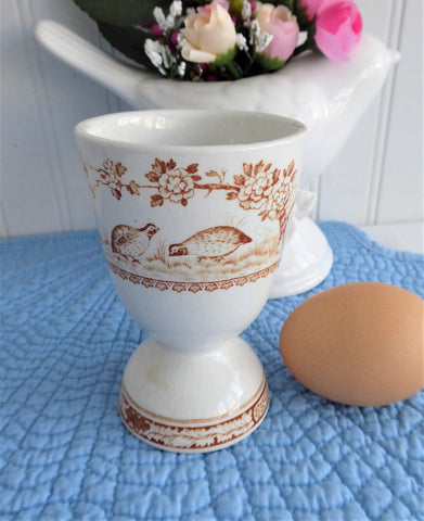 Furnivals Quail Eggcup Double Brown Transferware 1890s Birds Ironstone Egg Cup