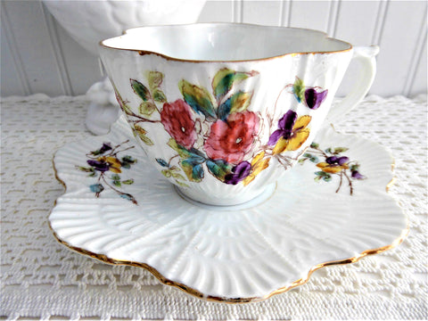 Antique Victorian Cup And Saucer Floral Bouquet 1880s Shell Shape Hand Colored