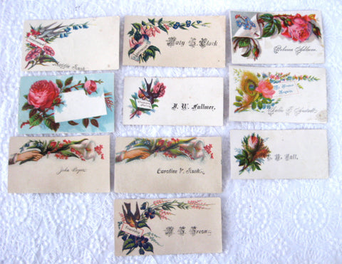 Victorian Calling Card Set Of 10 Flowers Birds Mottos Various 1880-1900 Visiting Cards