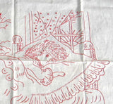 Embroidered Tablecloth Red Work Good Morning Edwardian Child In Bed 1890s