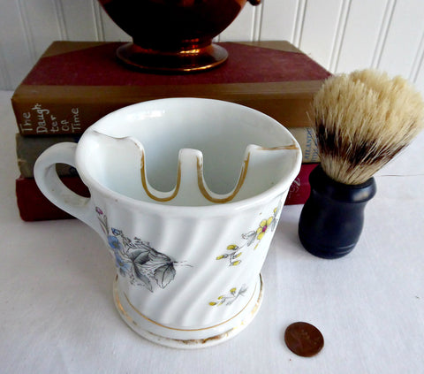 Victorian Shaving Mug German Hand Colored 1890s Porcelain Hot Water Wet Shave
