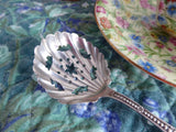 Edwardian Sterling Silver Sugar Sifting Spoon Fancy Paisley Holes Sugar Fan Shaped USA