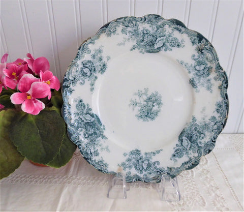 Teal Transferware Plate Wilkinson Arcadia Antique Floral England 1890-1920