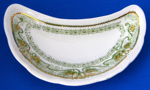 Set of 5 Edwardian Green Transfer Bone Dishes Marseilles Art Nouveau Woods England 1897-1907