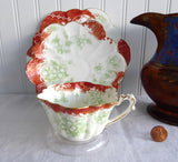 Wileman Shelley Cup And Saucer With Plate Trio Empire Rust And Green