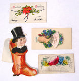 Victorian Greeting Cards Die Cut 4 Cards Hidden Message Figural I Am Your Captive Christmas