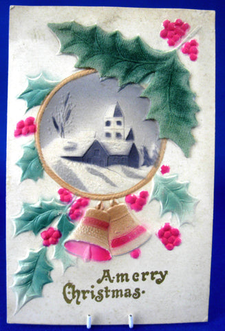 Merry Christmas 1900 Postcard Heavy Felted Snow Scene Holly Germany Used As Gift Card