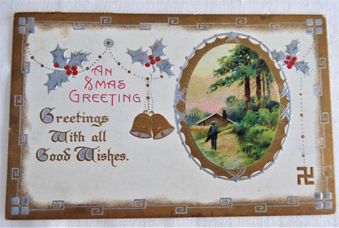 Postcard 1910s Embossed Christmas An Xmas Greeting Metallic Snow Vignette