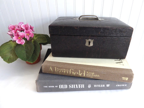 English Edwardian Tea Caddy Locking Black Leather Box 1900 Jewel Case