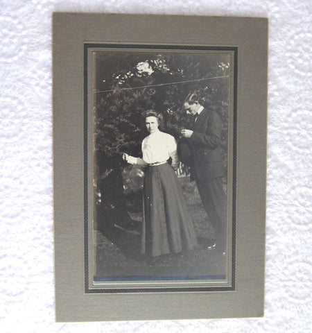 Cabinet Card Photo Edwardian Couple Shirtwaist Looking Shy 1890-1910 Early Photo