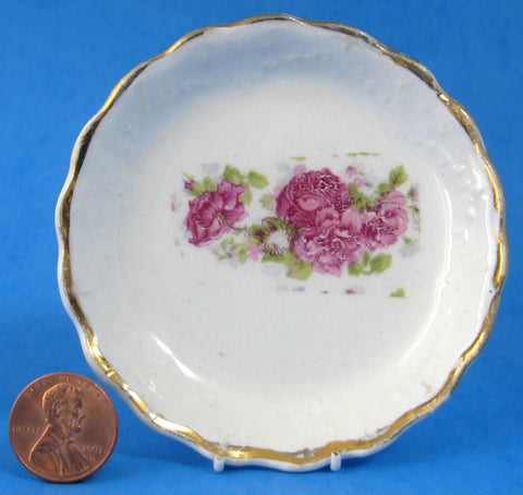 Butter Pat Antique English Pink Roses Gold Teabag Caddy Edwardian Era
