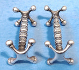 English Edwardian Cutlery Rests Pair Turned Bar Ball Ends 1890-1910 Wilkinson