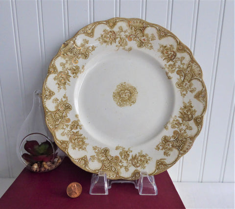 Edwardian English Ironstone Lunch Plate Golden Brown Transferware Pansies 1895-1905