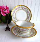 Gorgeous Haviland Limoges Teacup Trio 1900 Ornate Pink Blue Floral Gold Roses Ribbons
