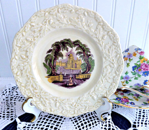 Purple Transferware Masons Oak Bread Plate Side Ironstone 1900s English Transferware