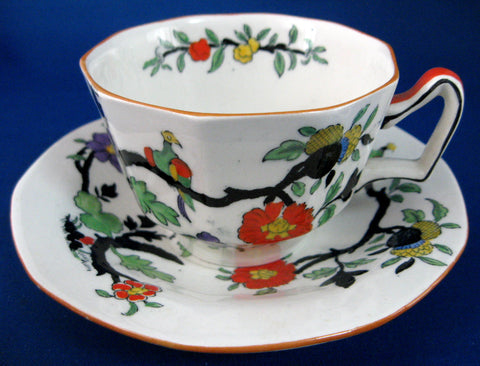 Edwardian Masons Transferware Ironstone Cup And Saucer Birds Enamel On Transfer 1900