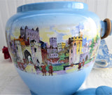 Edwardian Blue Biscuit Jar Barrel Tower Of London New Hall Antique 1900