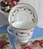 Edwardian Royal Albert Crown Cup And Saucer Rosebud Swags Gold Trim 1910 Bone China Roses