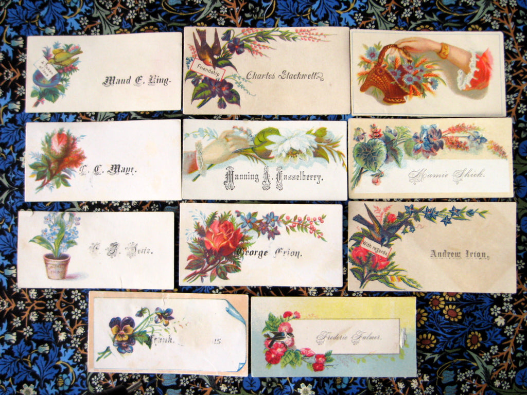 Victorian Calling Cards 11 Visiting Cards Flowers Birds Hands ...