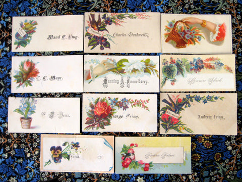 Victorian Calling Cards 11 Visiting Cards Flowers Birds Hands Various Styles Lot 3