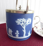 Biscuit Jar Dark Blue Jasperware Dip Wedgwood 1900 Peace Ceres Cookie Jar