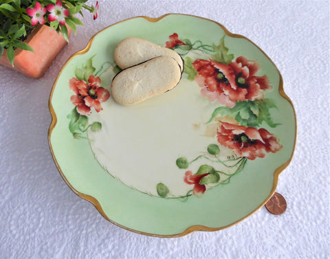 Poppies Plate Hand Painted Plate Haviland Limoges France 1910s Artistan