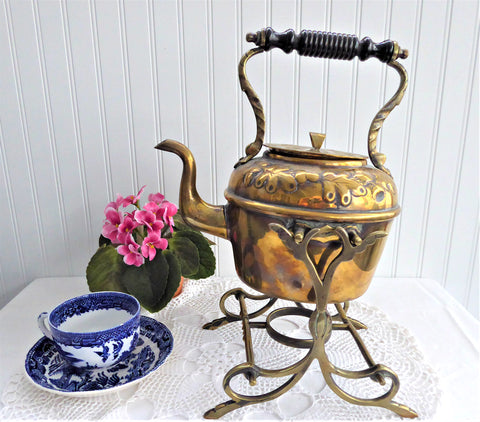 Brass Tipping Tea Kettle Spirit Kettle Oak Leaves Acorns Bakelite 1900 Teapot