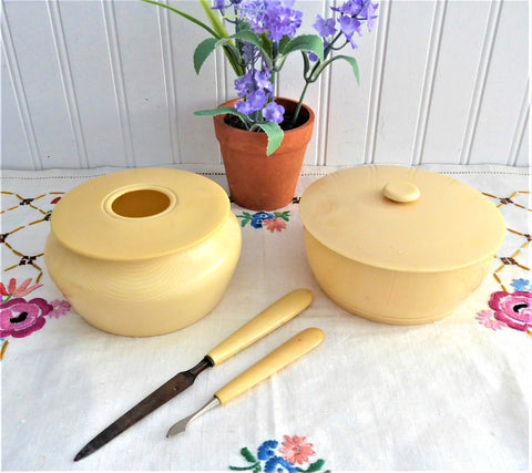 Set Of 4 Antique Celluloid Vanity Items Powder Box Hair Receiver Nail Tools 1900
