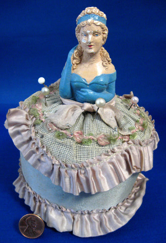 Edwardian Chalk Half Doll Pincushion Germany With Pins Silk Hand Painted 1900-1910