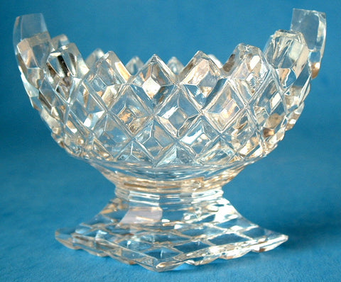 Antique Open Salt Lead Crystal England Boat Shape Waffle Pedestal 1890s