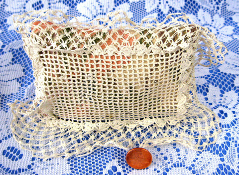 Edwardian All Hand Made Pin Cushion Hand Made Lace Fabric Sewing Notions Floral 1900-1910