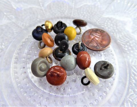 Mixed Lot Of 16 Shoe Buttons Glove Buttons Edwardian Pin Shank 1900 Gaiter Buttons