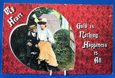 Edwardian Romance Postcard Real Photo Heart Happiness Antique 1900-1910