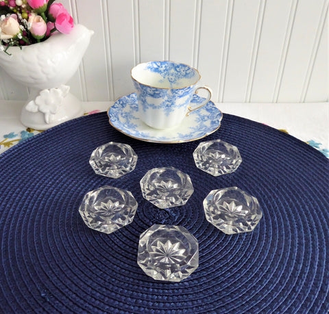 Salt Dips Set 6 Victorian 1890s Honeycomb Diamond Faceted Glass Open Salts